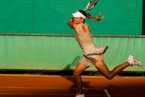 テニスの試合中